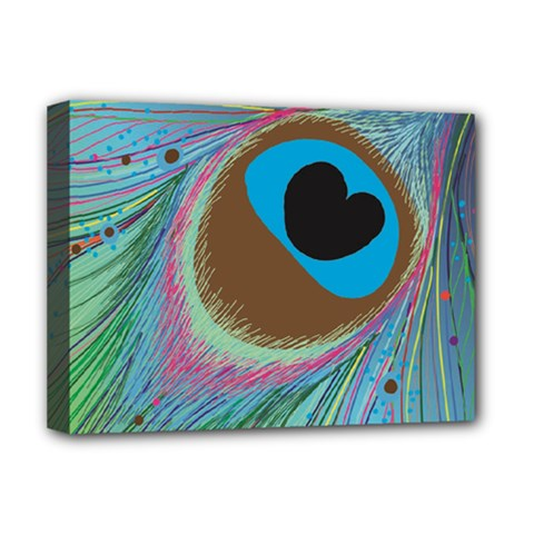 Peacock Feather Lines Background Deluxe Canvas 16  x 12