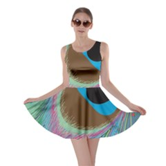 Peacock Feather Lines Background Skater Dress