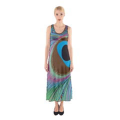 Peacock Feather Lines Background Sleeveless Maxi Dress