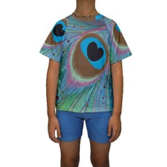 Peacock Feather Lines Background Kids  Short Sleeve Swimwear