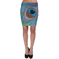 Peacock Feather Lines Background Bodycon Skirt