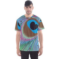 Peacock Feather Lines Background Men s Sport Mesh Tee
