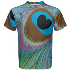 Peacock Feather Lines Background Men s Cotton Tee