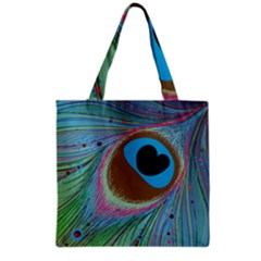 Peacock Feather Lines Background Grocery Tote Bag