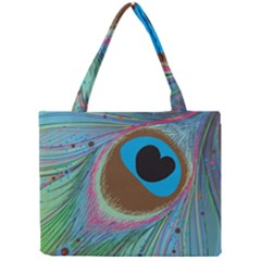 Peacock Feather Lines Background Mini Tote Bag