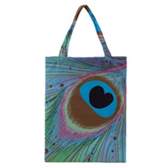 Peacock Feather Lines Background Classic Tote Bag