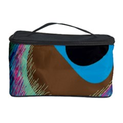 Peacock Feather Lines Background Cosmetic Storage Case