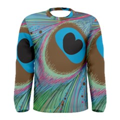 Peacock Feather Lines Background Men s Long Sleeve Tee