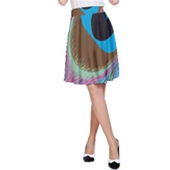Peacock Feather Lines Background A-Line Skirt