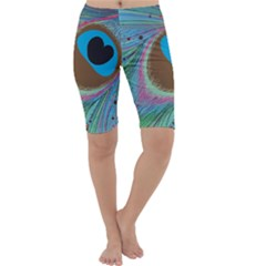 Peacock Feather Lines Background Cropped Leggings