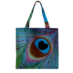 Peacock Feather Lines Background Zipper Grocery Tote Bag