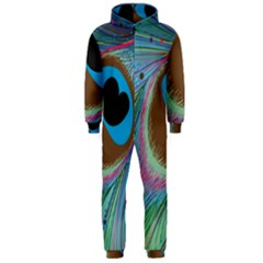 Peacock Feather Lines Background Hooded Jumpsuit (Men)