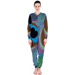 Peacock Feather Lines Background OnePiece Jumpsuit (Ladies)