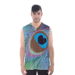 Peacock Feather Lines Background Men s Basketball Tank Top