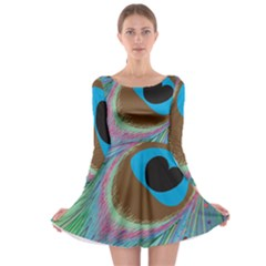 Peacock Feather Lines Background Long Sleeve Skater Dress