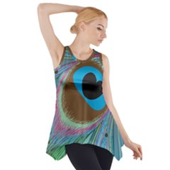Peacock Feather Lines Background Side Drop Tank Tunic