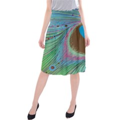 Peacock Feather Lines Background Midi Beach Skirt
