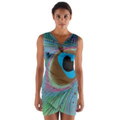 Peacock Feather Lines Background Wrap Front Bodycon Dress