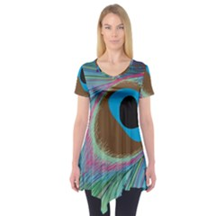 Peacock Feather Lines Background Short Sleeve Tunic