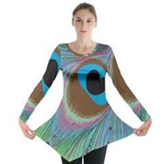 Peacock Feather Lines Background Long Sleeve Tunic