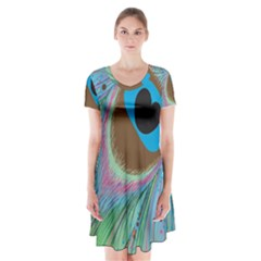 Peacock Feather Lines Background Short Sleeve V-neck Flare Dress