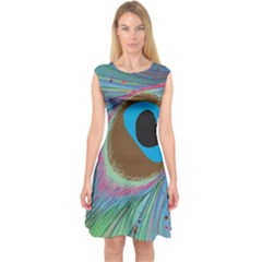 Peacock Feather Lines Background Capsleeve Midi Dress