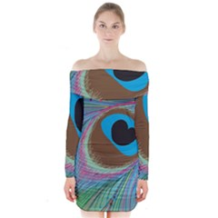 Peacock Feather Lines Background Long Sleeve Off Shoulder Dress