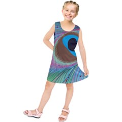 Peacock Feather Lines Background Kids  Tunic Dress