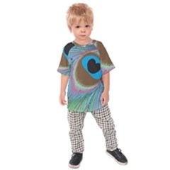 Peacock Feather Lines Background Kids  Raglan Tee