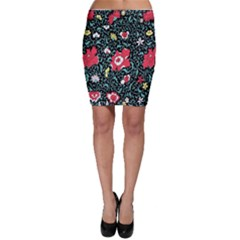 Vintage Floral Wallpaper Background Bodycon Skirt