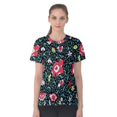 Vintage Floral Wallpaper Background Women s Cotton Tee