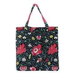 Vintage Floral Wallpaper Background Grocery Tote Bag