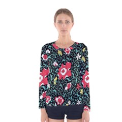 Vintage Floral Wallpaper Background Women s Long Sleeve Tee