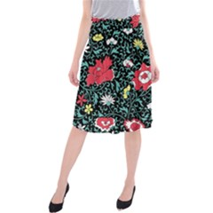 Vintage Floral Wallpaper Background Midi Beach Skirt