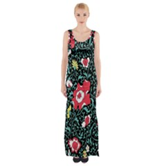 Vintage Floral Wallpaper Background Maxi Thigh Split Dress