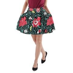 Vintage Floral Wallpaper Background A Line Pocket Skirt