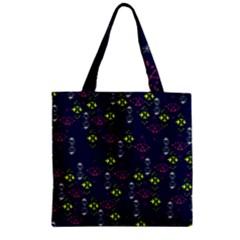 Vintage Unique Pattern Zipper Grocery Tote Bag