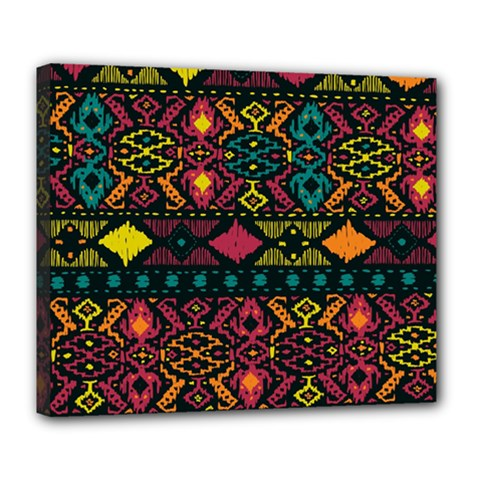 Traditional Art Ethnic Pattern Deluxe Canvas 24  x 20