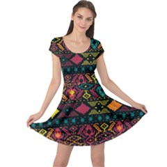 Traditional Art Ethnic Pattern Cap Sleeve Dresses