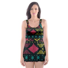 Traditional Art Ethnic Pattern Skater Dress Swimsuit