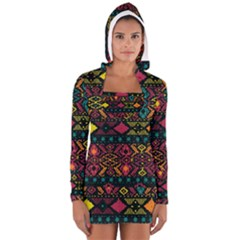 Traditional Art Ethnic Pattern Women s Long Sleeve Hooded T Shirt