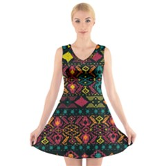 Traditional Art Ethnic Pattern V-Neck Sleeveless Skater Dress