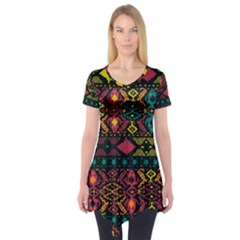 Traditional Art Ethnic Pattern Short Sleeve Tunic