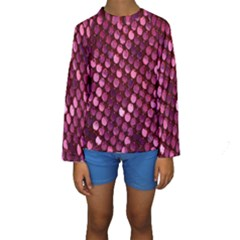 Red Circular Pattern Background Kids  Long Sleeve Swimwear