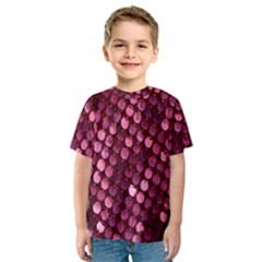 Red Circular Pattern Background Kids  Sport Mesh Tee