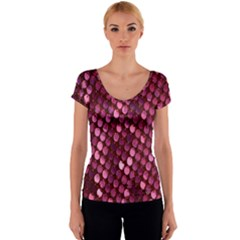 Red Circular Pattern Background Women s V-Neck Cap Sleeve Top