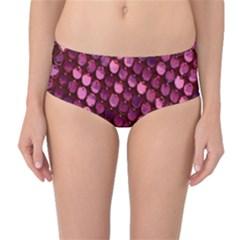 Red Circular Pattern Background Mid-Waist Bikini Bottoms