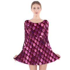 Red Circular Pattern Background Long Sleeve Velvet Skater Dress