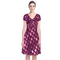 Red Circular Pattern Background Short Sleeve Front Wrap Dress