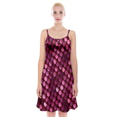 Red Circular Pattern Background Spaghetti Strap Velvet Dress